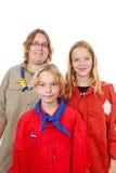 Drie Nederlandse verkennersmeisjes Stock Fotografie