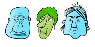 Drie ongelukkige gezichten Royalty-vrije Stock Fotografie