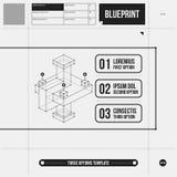 Drie optiesmalplaatje met abstract 3d element in ontwerpstijl Royalty-vrije Stock Foto