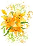 Drie oranje lelie, vectorgrunge bloemenachtergrond Stock Afbeeldingen