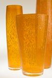 Drie oranje vazen Royalty-vrije Stock Afbeeldingen