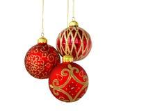Drie ornamentenballen Royalty-vrije Stock Afbeeldingen
