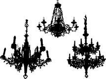 Drie oude kroonluchters royalty-vrije illustratie