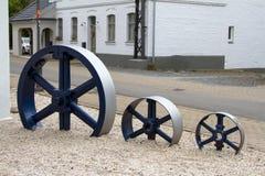 Drie oude machineswielen Royalty-vrije Stock Fotografie