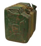Drie oude roestige benzinejerrycan Stock Foto