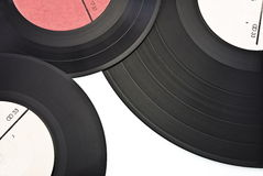 Drie oude stoffige gekraste vinylverslagen Stock Fotografie