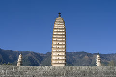 Drie pagoden, Dali, Yunnan, China Royalty-vrije Stock Foto's