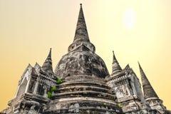 Drie Pagoden, de oude pagode en de tempel in de stad van het Historische Park van Ayutthaya stock foto