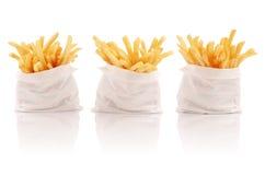 Drie pakken frieten Royalty-vrije Stock Foto