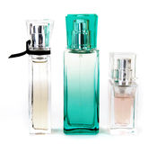 Drie parfums Stock Foto's