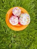 Drie Pasen-cakestribune in een oranje plaat op het groene gras Stock Foto