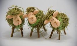 Drie Pasen-stro sheeps derde Royalty-vrije Stock Fotografie
