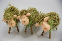 Drie Pasen-stro sheeps vijfde Royalty-vrije Stock Afbeeldingen