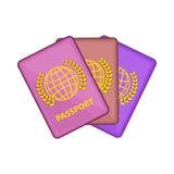 Drie paspoortenpictogram, beeldverhaalstijl vector illustratie