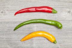 Drie pepperonis Royalty-vrije Stock Afbeelding
