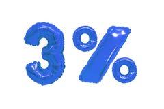 Drie percenten van ballons donkerblauwe kleur royalty-vrije stock foto's