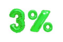 Drie percenten van ballons groene kleur royalty-vrije stock foto's
