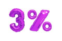 Drie percenten van ballons purpere kleur stock foto's