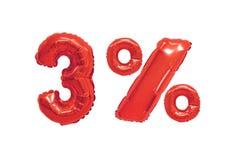 Drie percenten van ballons rode kleur royalty-vrije stock fotografie