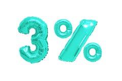 Drie percenten van ballons turkooise kleur stock afbeelding