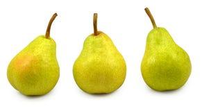 Drie peren isoleren Stock Afbeeldingen