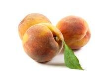Drie perziken met blad Royalty-vrije Stock Foto