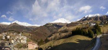 Drie pieken bij Zambla-pas in de winter, Bergamo, Italië Royalty-vrije Stock Foto