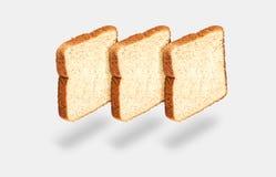 Drie plakken van licht brood Royalty-vrije Stock Foto's