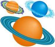 Drie Planeten met Ringen stock illustratie