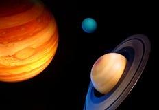 Drie planeten in ruimte Stock Foto's