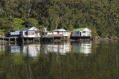 Drie Plattelandshuisjes Fishermens Stock Afbeelding