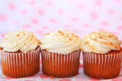 Drie pompoenkruid cupcakes royalty-vrije stock fotografie