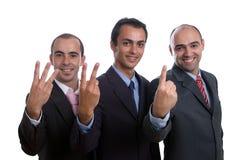 Drie positieve bedrijfsmensen Royalty-vrije Stock Afbeeldingen