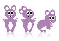Drie purpere konijnen Royalty-vrije Stock Afbeeldingen