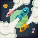 Drie raketten stijgen in ruimte stock illustratie