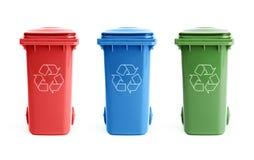 Drie recycleren bakken stock afbeeldingen