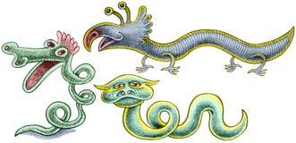 Drie reptielen - kronkel met rode kam, blauwe basilisk en ongebruikelijke slang met hoornen Stock Foto
