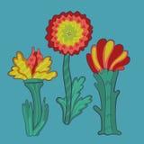 Drie retro bloemen Stock Afbeeldingen