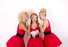 Drie retro meisjes Stock Foto's