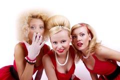 Drie retro meisjes Royalty-vrije Stock Afbeeldingen