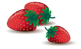 Drie rijpe aardbeien Royalty-vrije Stock Afbeelding