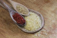 Drie rijstverscheidenheid Stock Afbeeldingen