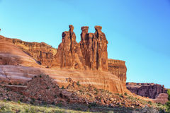 Drie roddels, Bogen Nationaal park, Utah Stock Foto