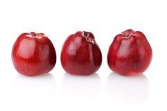 Drie rode appelen met bezinning Stock Fotografie