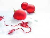 Drie rode ballen en sterren Stock Fotografie