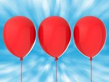 Drie rode ballons Stock Afbeeldingen