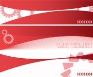Drie rode banners Stock Afbeeldingen