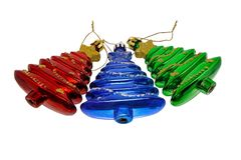 Drie rode blauwgroen van de speelgoedkerstboom stock afbeelding