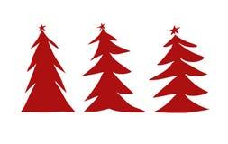 Drie rode Kerstbomenillustratie royalty-vrije illustratie