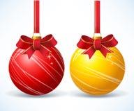 Drie Rode Kerstmis Onaments Stock Afbeelding